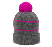 KNF-100-Heathered Grey/Fuchsia-One Size Fits Most