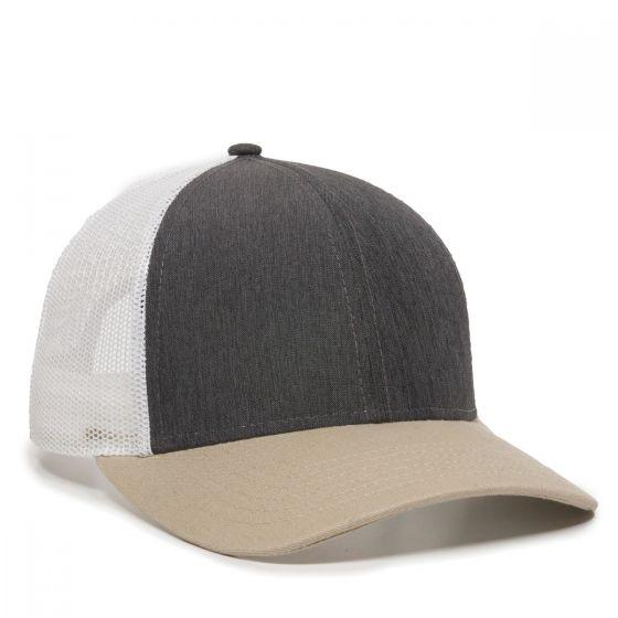 OC770-Heathered Charcoal/White/Khaki-One Size Fits Most